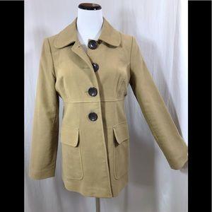 Gap 100% Cotton Camel Brown Peacoat Jacket